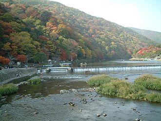 Arashiyama - Mount Arashi (Arashiyama) across the Ōi River