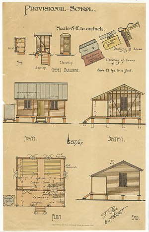 History of state education in Queensland - Architectural drawing of a Provisional School