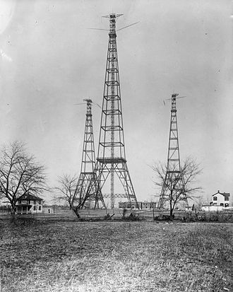 Hoover Field - The Arlington Radio Towers, one of the many dangerous safety hazards near the edge of Hoover Field.