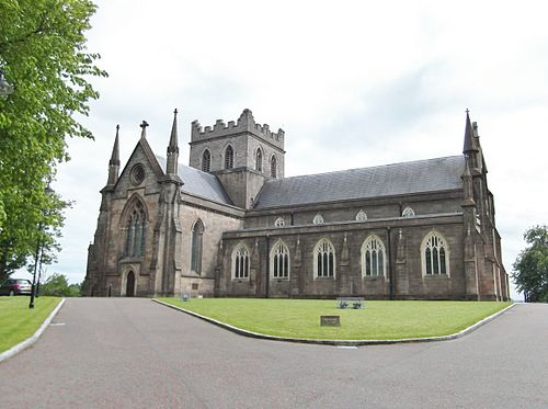 St. Patrick's Cathedral, Armagh (Church of Ireland), site of the original church ArmaghCICathedral.jpg
