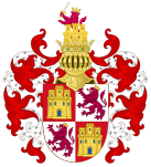 Arms of the Crown Castile with the Royal Crest.svg