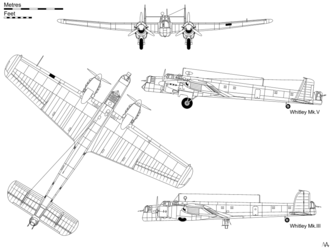"Orthographic projection of the Merlin-powered Whitley Mk V, with inset profile of the Tiger-powered Mk III with retractable ""dustbin"" turret."
