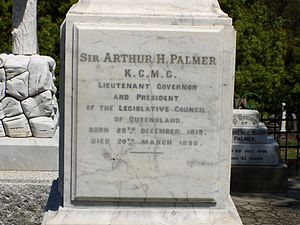 Arthur Hunter Palmer - Sir Arthur Hunter Palmer's headstone at Brisbane's Toowong Cemetery