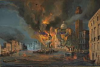 Republic of San Marco - The church of San Geremia in Venice hit by the Austrian bombardment of 1849.