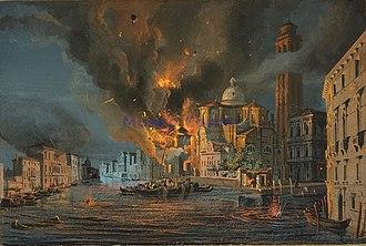Austro-Hungarian Navy - Venice under Austrian bombardment, 1849