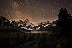 Mount Assiniboine Provincial Park - Lake Magog and Mount Assiniboine in evening twilight