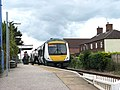 Attleborough railway station - train arriving at platform 2 - geograph.org.uk - 1408006.jpg