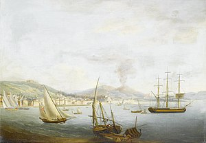 Attrib. to John Thomas Serres - A British merchantman amidst local craft in the Bay of Naples.jpg