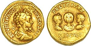 Septimius Severus - Aureus with Septimius Severus, Julia Domna, Caracalla and Geta
