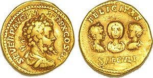 Septimius Severus - Aureus with Septimius Severus, Julia Domna, Caracalla and Geta