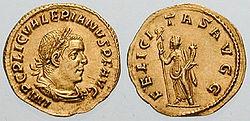 Valeriano en un áureo, junto a la diosa Fortuna (c. 255-6).