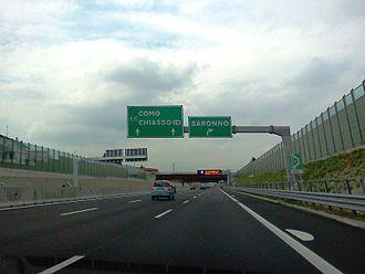 Autostrada A9 (Italy) - The motorway near Saronno