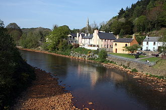 Avoca, County Wicklow - Avoca river at Avoca village; note copper-coloured stones on the river bed