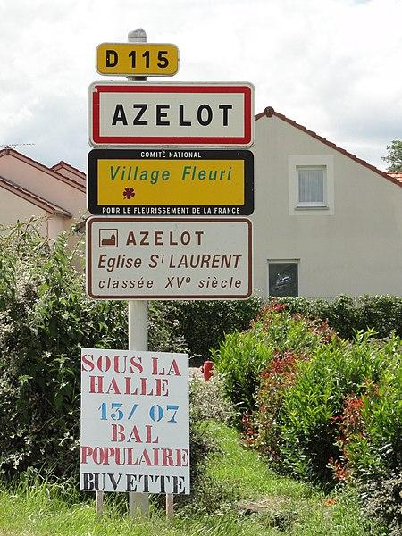 Azelot (M-et-M) city limit sign