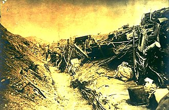 Battle of Galicia - Destruction of an Austro-Hungarian trench following Russian bombardment.