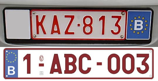 BE license plate