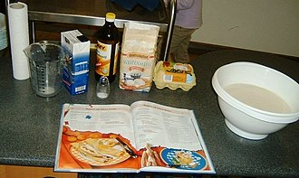 Recipe - A recipe in a cookbook for pancakes with the prepared ingredients