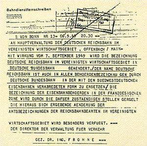 Deutsche Bundesbahn - Telegram announcing the formation of the Deutsche Bundesbahn