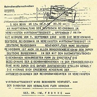 Deutsche Bundesbahn - Telegram announcing the formation of the Deutsche Bundesbahn