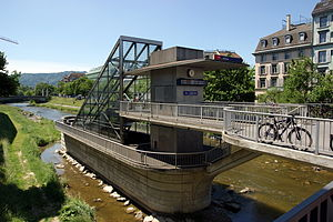 Sihltal Zürich Uetliberg Bahn - Once the terminus of the SZU lines, Selnau station is now a through station on the line into Zurich Hauptbahnhof. As this line runs in a tunnel along and under the bed of the River Sihl, its access is via this structure in the river.