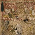 Balami - Tarikhnama - The death of Musaylima at the hand of the Ethiopian Slave Wahshi (cropped).jpg