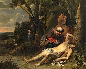 Parable of the Good Samaritan - Parable of the Good Samaritan by Balthasar van Cortbemde (1647) shows the Good Samaritan tending the injured man while the Levite and priest are also shown in the distance.