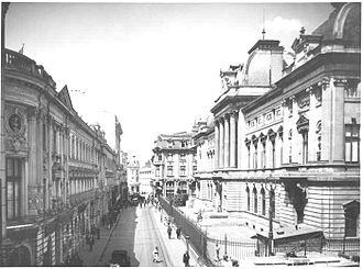 National Bank of Romania - The Headquarters of the National Bank of Romania in the 1920s (Lipscani Street).