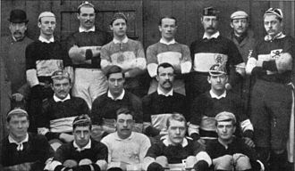 Richard Budworth - The Barbarians in 1891, Budworth is stood far right with skull and crossbones badge on his jersey