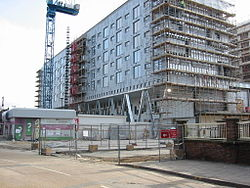 Work underway on the Barking Learning Centre. The top three floors contain 166 apartment units. March 2007.