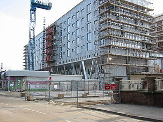 Barking, London - Work underway on the Barking Learning Centre in March 2007. The top three floors contain 166 apartment units.