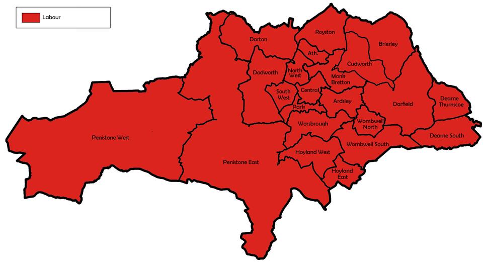 Barnsley UK local election 1990 map