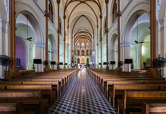 Notre-Dame Cathedral Basilica of Saigon - View of the cathedral nave.