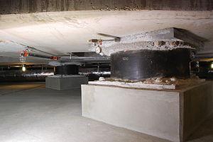Base isolation - The base isolators under the Utah State Capitol building