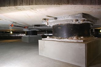 Base isolation - The base isolators under the Utah State Capitol building