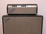 "Fender bassman amp AB165 with 2X15"" speaker cabinet."