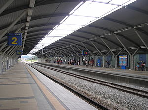 Batang Kali Komuter station - A platform view of the Batang Kali station.