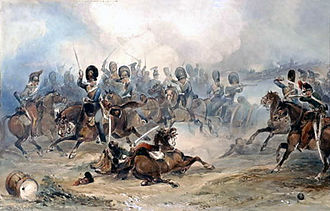 Battle of Fuentes de Oñoro - Captain Norman Ramsay, Royal Horse Artillery, Galloping his Troop Through the French Army to Safety at the Battle of Fuentes de Onoro, 1811 by George Bryant Campion