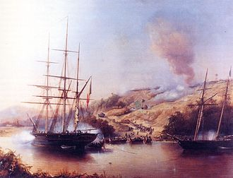 Belgian Navy - French and Belgian warships during Rio Nuñez Incident in West Africa (1849)