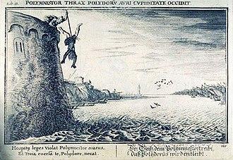 Polydorus of Troy - Engraving illustrating Ovid's Metamorphoses, showing Polymestor killing Polydorus