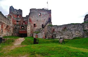 Bauska Castle - The inner courtyard of the unrestored half of the Castle