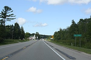 Bay Shore, Michigan - The sign for Bay Shore on US 31