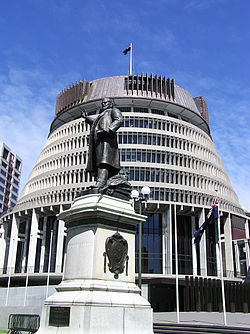 Beehive Wellington (Parliament Building & Statue of Richard John Seddon).JPG