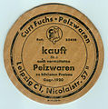 Beer mat of the German fur trader Curt Fuchs in Leipzig.jpg