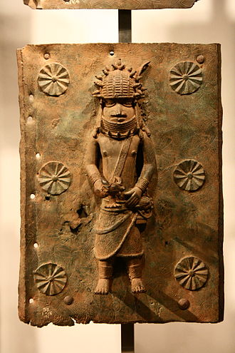 Benin Bronzes - A Benin Bronze plaque on display in the British Museum