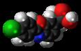Benoxaprofen molecule spacefill.png