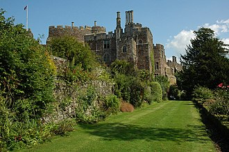 Berkeley Castle - Terrace now turfed and planted as a wall garden