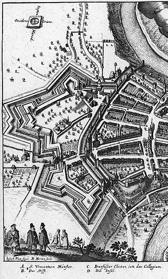 Old City (Bern) - An illustration of the Large and Small Redoubts (Schanzen) added from 1622 to 1634