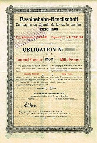 Bernina railway - Bond of the Berninabahn-Gesellschaft, issued 3. June 1908