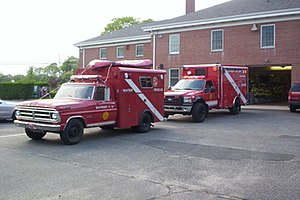 Bayport, New York - 1971 and 2006 water rescue squad trucks of the Bayport Fire Department
