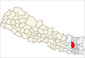 Bhojpur District i Kosi Zone (grå) i Eastern Development Region (grå + lysegrå)